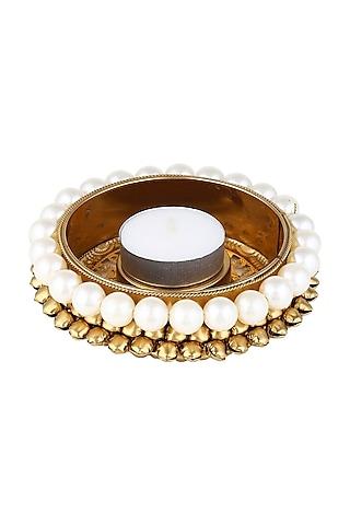 Gold & White Pearl Candles (Set of 6) by Chrysante By Gunjan Gupta