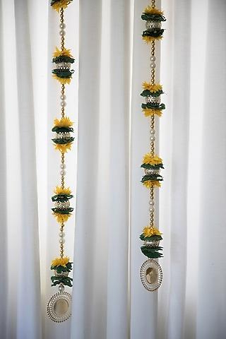 Yellow & Green Door Hanging (Set of 2) by Chrysante By Gunjan Gupta