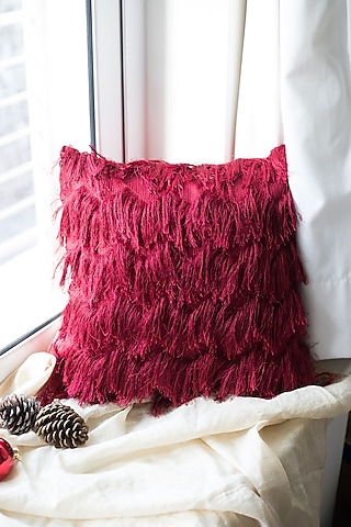 Deep Red Cushion WIth Frills by Chrysante By Gunjan Gupta