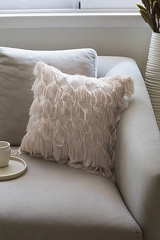 White Cushion WIth Frills by Chrysante By Gunjan Gupta