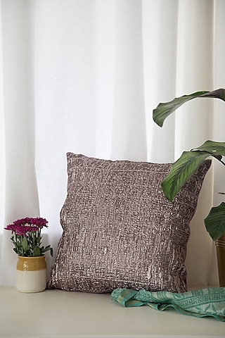 Violet Shiny Metallic Cushion by Chrysante By Gunjan Gupta