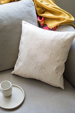 Cream Gold Shimmer Cushion by Chrysante By Gunjan Gupta
