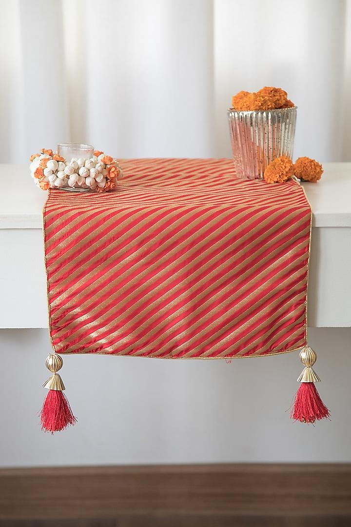 Royal Red & Gold Banarasi Brocade Silk Table Runner by Chrysante By Gunjan Gupta