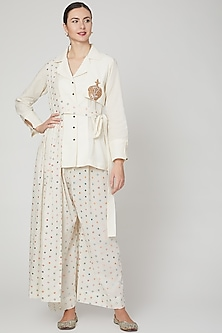 Ivory Embroidered Shirt & Palazzo Pants by Mohammad Mazhar