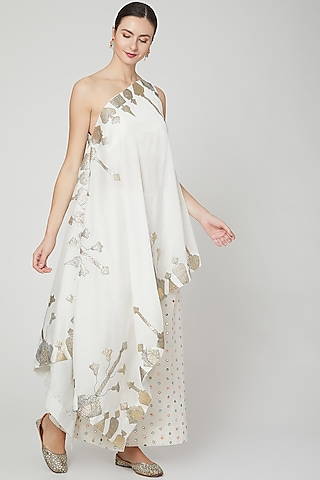 Ivory Embroidered Tunic & Palazzo Pants by Mohammad Mazhar