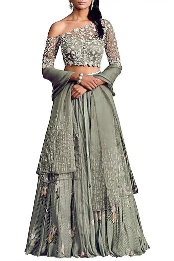 Olive Embellished Lehenga Set by Mahima Mahajan