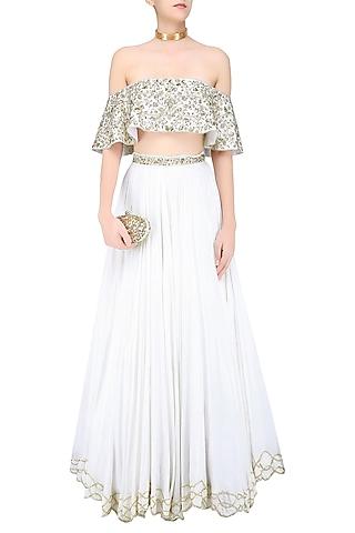 Ivory Floral Embroidered off Shoulder Blouse and Lehenga Skirt Set by Mahima Mahajan