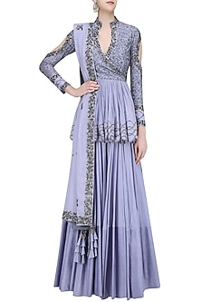 Grey Embroidered Peplum Lehenga Set by Mahima Mahajan