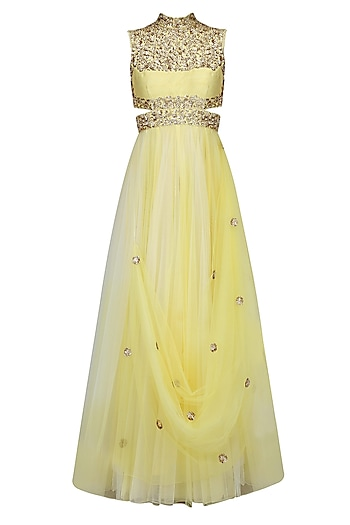 Yellow Ombre And Gold Floral Embroidered Cutout Anarkali Suit by Mahima Mahajan