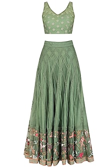 Forest Green Floral Embroidered Lehenga Set by Mansi Malhotra