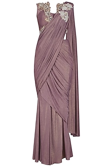 Lila Hand Embroidered Shimmer Drape Saree by Mansi Malhotra