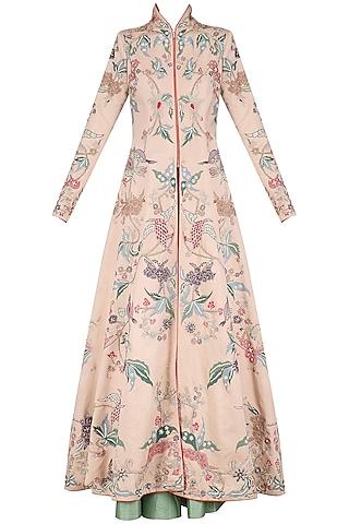 Rose Pink Embroidered Long Jacket and Sage Green Skirt Set by Mansi Malhotra