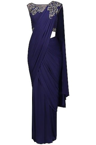 Cobalt Blue Embroidery Drape Saree with Blouse by Mansi Malhotra