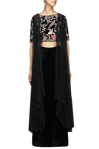 Black Floral Embroidered Crop Top with Palazzo Pants and Jacket Set by Mansi Malhotra