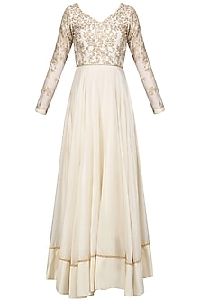 Ivory Thread and Beads Work Anarkali Set by Mansi Malhotra