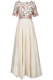 Ivory Beads and Multicolor Thread Work Anarkali Set by Mansi Malhotra