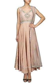 Nude Pink Embroidered Anarkali Set by Mansi Malhotra