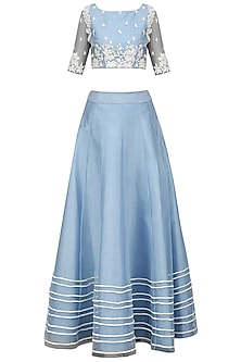 Ice Blue and White Embroidered Lehenga Set by Mansi Malhotra