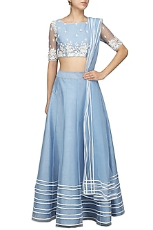 Ice Blue and White Embroidered Lehenga Set by Mansi Malhotra