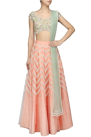 Peach and Mint Green Embroidered Lehenga Set by Mansi Malhotra