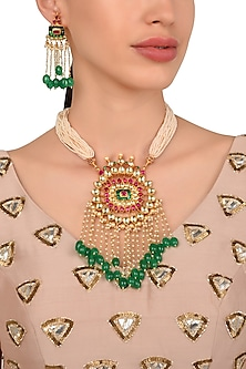Gold Plated Kundan and Semi Precious Stones Necklace with Pearl Earrings by Moh-Maya by Disha Khatri