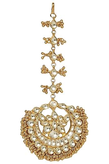 Gold Plated Kundan and Pearls Maang Tikka by Moh-Maya by Disha Khatri