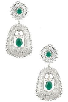Silver Finish Diamond Zircon Earrings by Moh-Maya by Disha Khatri