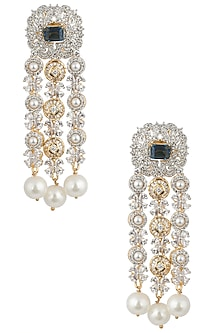 Gold and Silver Dual Finish Diamond Zircon Earrings by Moh-Maya by Disha Khatri