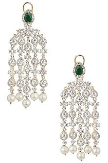 Gold Plated Diamond Zircon and Magenta Stone Earrings by Moh-Maya by Disha Khatri