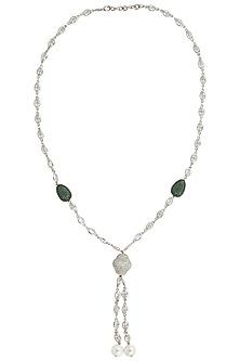 Silver Finish Gold Zircon and Pearl Chain by Moh-Maya by Disha Khatri