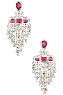 Gold Plated Ruby Diamond Earrings by Moh-Maya by Disha Khatri
