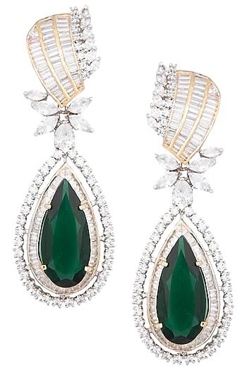 Gold Plated Emerald Stone Earrings by Moh-Maya by Disha Khatri