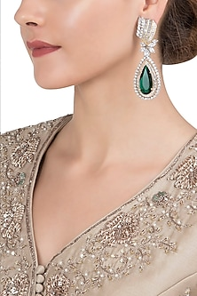Gold Plated Emerald Stone Earrings by Moh-Maya by Disha Khatri