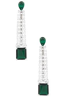 Gold Plated Silver and Emerald Stone Long Diamond Earrings by Moh-Maya by Disha Khatri