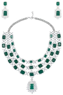 Gold Plated Silver and Emerald Necklace Set by Moh-Maya by Disha Khatri
