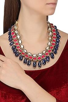 Gold Plated Kundan, Magenta and Blue Stones Necklace by Moh-Maya by Disha Khatri