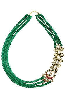 Gold Plated Kundan and Emerald Beads Broach Necklace by Moh-Maya by Disha Khatri