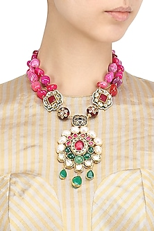 Gold Finish Kundan Mughal Pendant Necklace by Moh-Maya by Disha Khatri