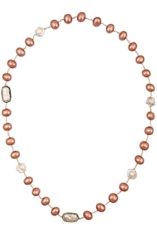 Coral Oval Pearls Necklace by Moh-Maya by Disha Khatri
