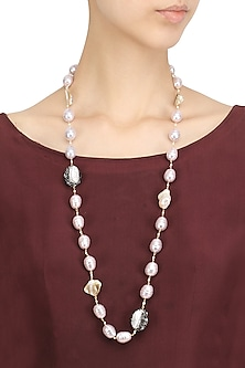 Pink and White Pearl String Necklace by Moh-Maya by Disha Khatri