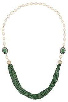 Gold Finish Emerald Beads and Zircons Necklace by Moh-Maya by Disha Khatri