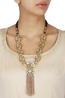 Gold Finish Kundan and Self Flower Design Necklace by Moh-Maya by Disha Khatri