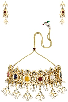 Gold Plated Kundan and Semi Precious Stones Rajwada Choker Necklace Set by Moh-Maya by Disha Khatri