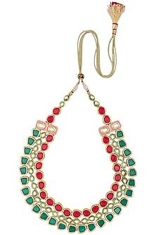 Gold Plated Emerald, Magenta and Polki Stone 3 Line Necklace by Moh-Maya by Disha Khatri