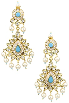 Gold Plated Kundan and Aqua Semi Precious Stones Chandbali Earrings by Moh-Maya by Disha Khatri