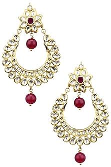 Gold Plated Kundan and Maroon Semi Precious Stones Chandbali Earrings by Moh-Maya by Disha Khatri