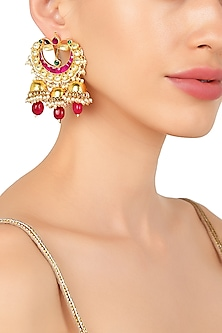 Gold Plated Kundan and Semi Precious Stone Earrings by Moh-Maya by Disha Khatri