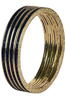 Set Of 4 Gold Plated Bangles with Royal Blue Stones by Moh-Maya by Disha Khatri