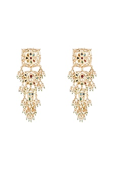 Gold Plated Multicolor Stone Long Earrings by Moh-Maya by Disha Khatri
