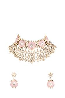 Gold Plated Rose Pink Pearls & Kundan Necklace set by Moh-Maya by Disha Khatri